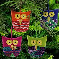 Recycled Huipil Owl Ornament