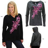 Pink Ribbon Heart Swirl Hooded Lightweight Tunic