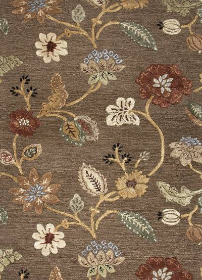 Hand-tufted floral pattern wool blend brown/multi area rug, Choco Floral