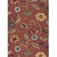 Hand-tufted floral pattern terracotta wool blend area rug, 'Terra Floral' - Hand-Tufted Floral Pattern Wool Chenille Area Rug