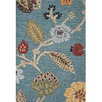 Hand-tufted floral pattern azure wool blend area rug, 'Azure Floral' - Hand-Tufted Floral Pattern Azure Wool Blend Area Rug