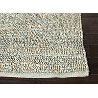 Natural solid aqua jute area rug, 'Aqua Loop' - Natural Solid Pattern Aqua Jute Area Rug