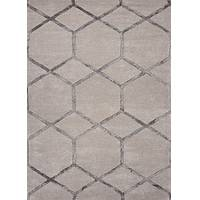 Hand-tufted geometric pattern grey-beige wool blend area rug, 'Intersection' - Hand-Tufted Geometric Pattern Grey-Beige Wool Blend Area Rug