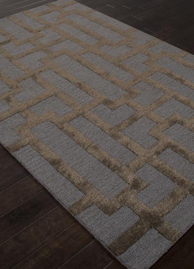 Modern Geometric Blue Brown Wool Blend Area Rug Urbanite Novica