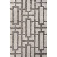 Modern geometric ivory/gray wool blend area rug, 'Urbanite' - Modern Geometric Ivory/Gray Wool Blend Area Rug