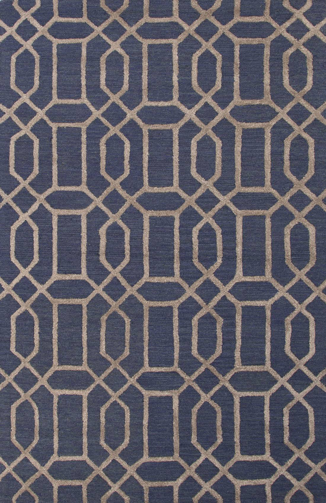 Hand Tufted Geometric Indigo Beige Wool