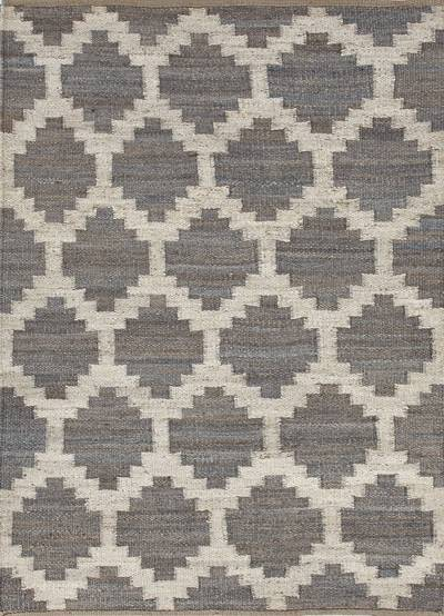 Natural Moroccan pattern gray/ivory hemp area rug, 'Earth Diamond' - Natural Moroccan Pattern Gray/Ivory Hemp Area Rug