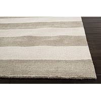 Hand loomed taupe/ivory wool blend area rug, 'Mega Stripe' - Hand Loomed Taupe/Ivory Striped Wool Blend Area Rug