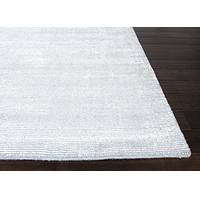 Hand loomed light blue striped wool blend area rug, 'Skylandia' - Hand Loomed Striped Light Blue Wool Blend Area Rug