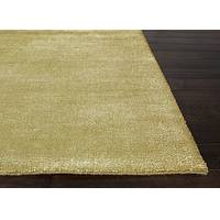 Hand loomed citron striped wool blend area rug, 'Treasures' - Hand Loomed Striped Citron Wool Blend Area Rug