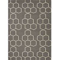 Flat-weave geometric pattern wool gray/ivory area rug, 'Hexacomb' - Flat-Weave Geometric Pattern Wool Gray/Ivory Area Rug