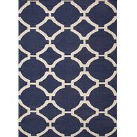Flat-weave geometric blue/ivory wool area rug, 'Navy Raster' - Flat-Weave Geometric Blue/Ivory Wool Area Rug