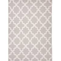 Flat-weave geometric gray/ivory wool area rug, 'Cloud Shiloh' - Flat-Weave Geometric Gray/Ivory Wool Area Rug