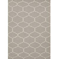 Flat-weave geometric gray/ivory wool area rug, 'Stone Winslow' - Flat-Weave Geometric Gray/Ivory Wool Area Rug