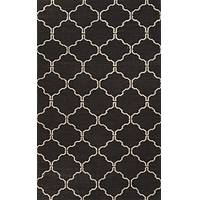 Flat-weave geometric black/ivory wool area rug, 'Coal Winslow' - Flat-Weave Geometric Black/Ivory Wool Area Rug
