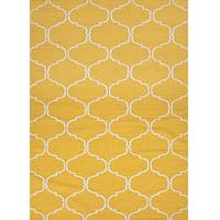 Flat-weave Moroccan pattern yellow/ivory wool area rug, 'Latiice Work' - Flat-Weave Moroccan Pattern Wool Yellow/Ivory Area Rug