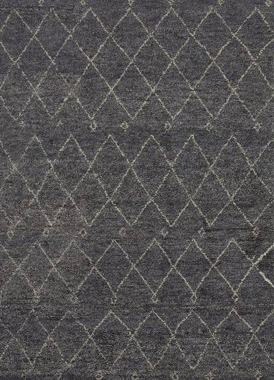 Hand-knotted Moroccan wool area rug, 'Perpetual' - Hand-Knotted Moroccan Pattern Wool Dark Blue/Ivory Area Rug