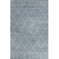 Modern moroccan blue/ivory wool area rug, 'Ethereal' - Modern Moroccan Blue/Ivory Wool Area Rug