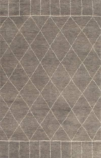 Hand Knotted Moroccan Pattern Wool Taupe Ivory Area Rug