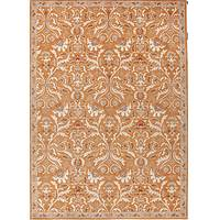 Hand-tufted wool area rug, 'Fireglow' - Hand-Tufted Oriental Pattern Wool Orange and Ivory Area Rug