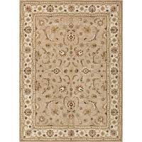 Hand-tufted wool area rug, 'Autumn Glow' - Hand-Tufted Floral Pattern Wool Taupe and Ivory Area Rug
