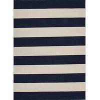 Flat-weave striped pattern area rug, 'Bold Blue' - Flat-Weave Dark Blue and Ivory Stripe 100% Wool Area Rug