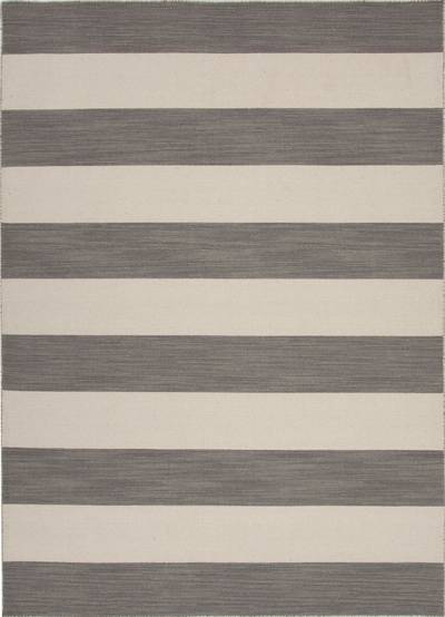Flat-weave stripe pattern wool area rug, Bold Grey