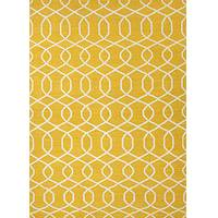 Flat-weave geometric yellow/ivory wool area rug, 'Interlaced In Gold' - Flat-Weave Geometric Yellow/Ivory Wool Area Rug
