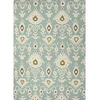 Flat-weave tribal pattern wool area rug, 'Romantic' - Flat-Weave Tribal Pattern Light Blue and Ivory Wool Area Rug