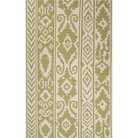 Flat-weave tribal pattern wool area rug, 'Tribal Mod' - Flat-Weave Tribal Pattern Wool Green and Ivory Area Rug