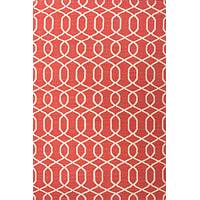Flat-weave geometric pattern wool area rug, 'Interlaced in Red' - Flat-Weave Geometric Pattern Wool Red and Ivory Area Rug