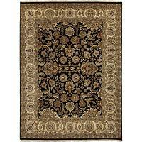 Classic oriental black/taupe wool area rug, 'Plato' - Classic Oriental Black/Taupe Wool Area Rug