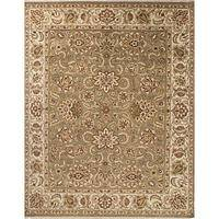 Classic oriental green/yellow wool area rug, 'Soren' - Classic Oriental Green/Yellow Wool Area Rug