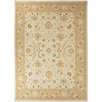 Classic oriental ivory/taupe wool area rug, 'Asper' - Classic Oriental Ivory/Taupe Wool Area Rug