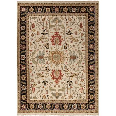 Clic Oriental Ivory Black Wool Area Rug Nizam