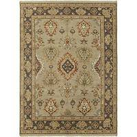 Classic oriental gray/brown wool area rug, 'Brittania' - Classic Oriental Gray/Brown Wool Area Rug