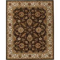 Classic oriental brown/ivory wool area rug, 'Earth Orient' - Classic Oriental Brown/Ivory Wool Area Rug