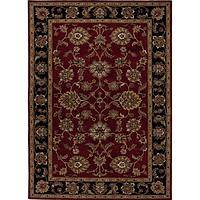 Classic oriental red/black wool area rug, 'Crimson Orient' - Classic Oriental Red/Black Wool Area Rug