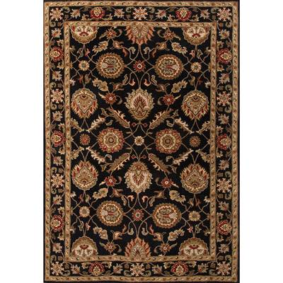 Classic oriental black/red wool area rug, 'Noir Orient' - Classic Oriental Black/Red Wool Area Rug