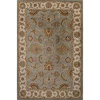 Classic oriental gray/ivory wool area rug, 'Stone Orient' - Classic Oriental Gray/Ivory Wool Area Rug