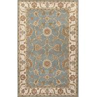 Classic oriental blue/ivory wool area rug, 'Sky Orient' - Classic Oriental Blue/Ivory Wool Area Rug