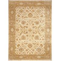 Classic oriental ivory/taupe wool area rug, 'Florence' - Classic Oriental Ivory/Taupe Wool Area Rug
