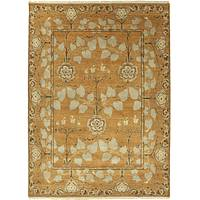 Classic arts and crafts orange/green wool area rug, 'Alder' - Classic Arts And Crafts Orange/Green Wool Area Rug