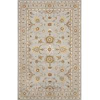 Classic oriental blue/brown wool area rug, 'Glacier Madrone' - Classic Oriental Blue/Brown Wool Area Rug