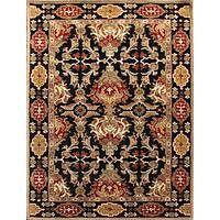 Classic oriental black/red wool area rug, 'Hemlock' - Classic Oriental Black/Red Wool Area Rug