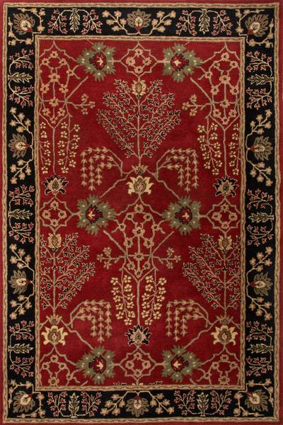 Classic arts and crafts red/black wool area rug, 'Rosewood Spires' - Classic Arts And Crafts Red/Black Wool Area Rug