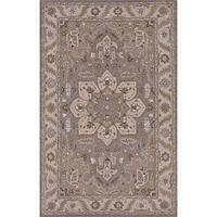 Classic oriental gray/ivory wool area rug, 'Porte' - Classic Oriental Gray/Ivory Wool Area Rug