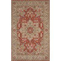 Classic oriental scarlet/taupe wool area rug, 'Celosia' - Classic Oriental Scarlet/Taupe Wool Area Rug