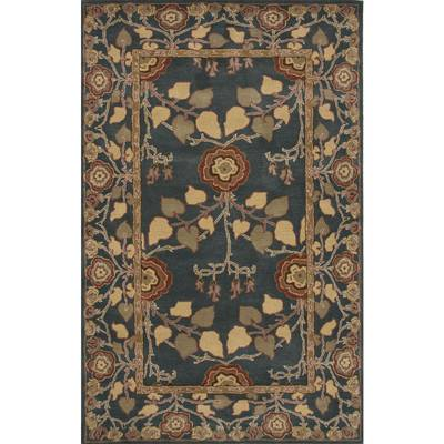 Classic arts and crafts blue wool area rug, 'Royal Madrone' - Classic Arts And Crafts Blue Wool Area Rug