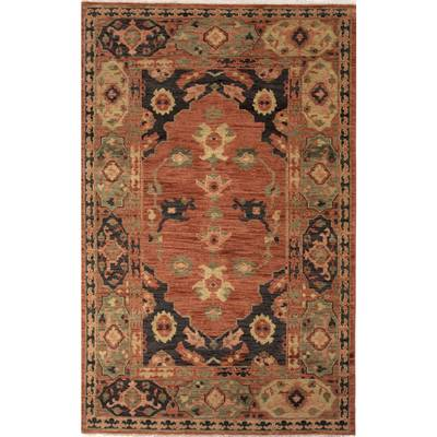 Classic oriental terracotta/charcoal wool area rug, 'Joan' - Classic Oriental Terracotta/Charcoal Wool Area Rug